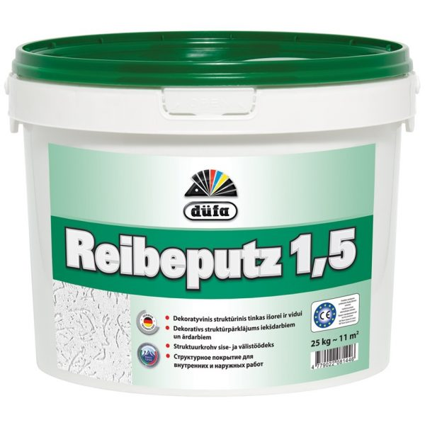 DUFA REIBEPUTZ 1.5 akrilinis dekoratyvinis tinkas (raižyta struktūra)
