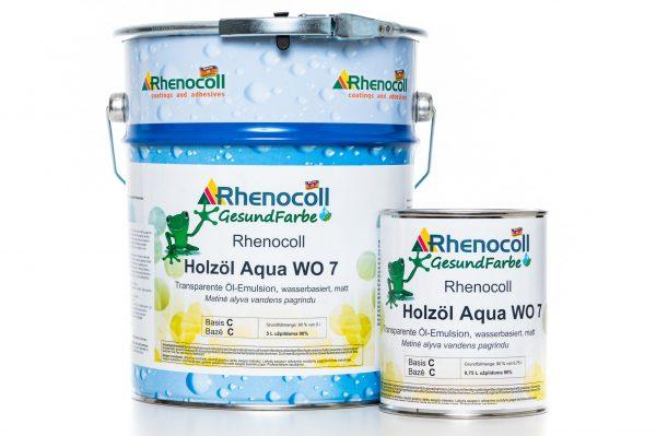RHENOCOLL HOLZOL AQUA WO 7 aliejaus emulsija pakuotės